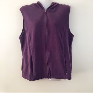 LL Bean hooded vest soft fleece super cozy